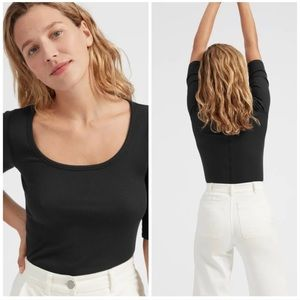 Everlane Prima Mirco Ribbed Scoop-Neck Top